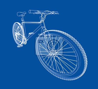 Fahrrad. drahtmodell-stil fototapete • fototapeten Blaupause ...