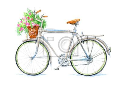 fahrrad und korb mit blumen wei er hintergrund gezeichnete. Black Bedroom Furniture Sets. Home Design Ideas