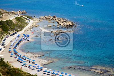 Berühmter FKK-Strand in Faliraki. Blick von oben auf den