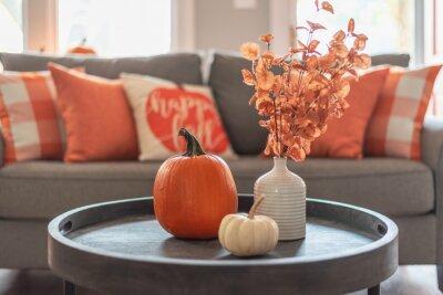 Fototapete Fall home decor in gray and orange tones