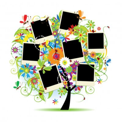 Familienalbum. Floral Baum mit Frames für Ihre Fotos.