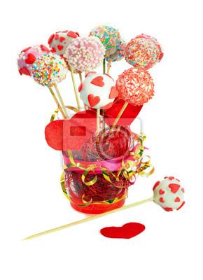 Fancy Kuchen Pops Fur Valentinstag Dekoriert Fototapete