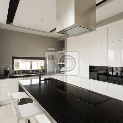 Fancy schwarz-weiße küche fototapete • fototapeten ...