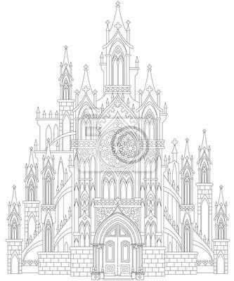 Fantasiezeichnung der mittelalterlichen gotischen burg. schwarz-weiß ...