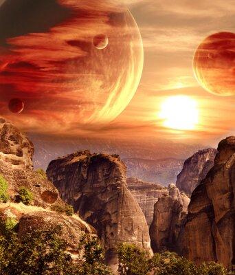 Fototapete Fantastische Landschaft mit Planeten, Berge, Sonnenuntergang