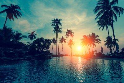 Fototapete Fantastischer Sonnenuntergang, Palmen im tropischen Strand.