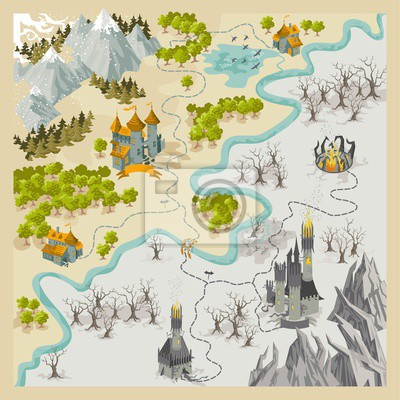 Fantasy Karte.Fototapete Fantasy Abenteuer Karte Elemente Mit Bunten Doodle Hand Zeichnen