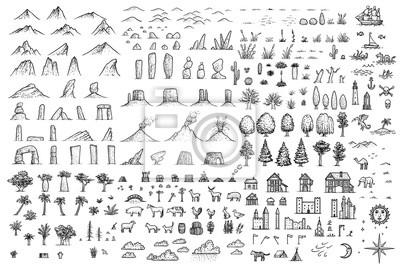 Fantasy Karte.Fototapete Fantasy Karte Elemente Illustration Zeichnung Gravur Tinte