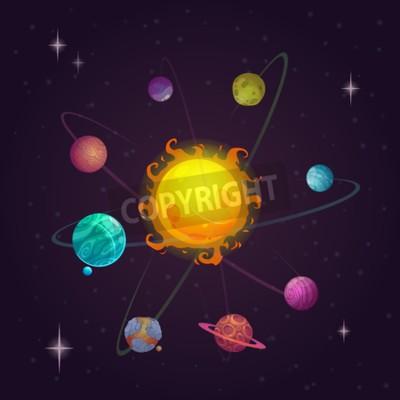 Fototapete Fantasy Sonnensystem, Alien Planeten und Sterne, Vektor Raum Illustration