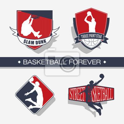 Farbe Basketball Emblem. Basketball-Spieler Silhouetten. Moderner Stil.