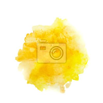 Farbe Gelb Orange Splash Aquarell Handgemalt Isoliert Auf