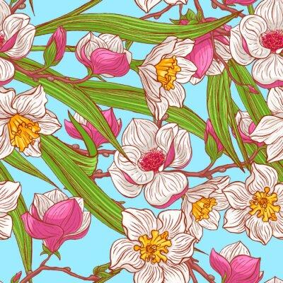 Fototapete Farbe Magnolien und Narzissen