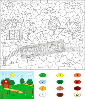 Farbe nach anzahl pädagogisches spiel für kinder. ländliche ...