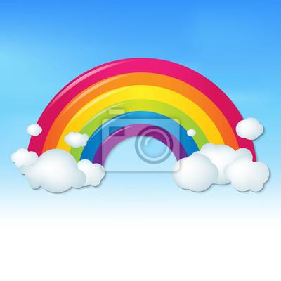 Farben Regenbogen Mit Wolken Und Blauer Himmel Fototapete