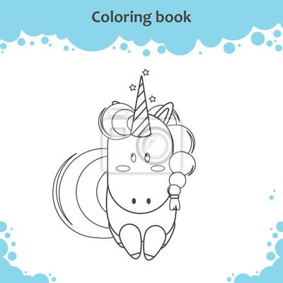 Farben Sie Die Niedlichen Cartoon Einhorn Malvorlagen Fur Kinder