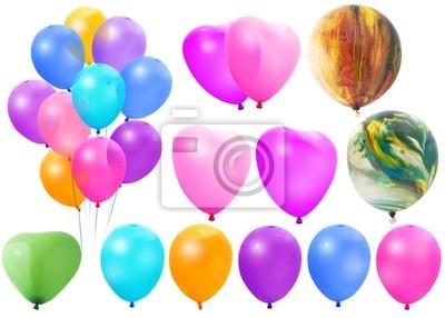 Farbige Ballone auf einem weißen Hintergrund