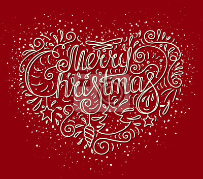 Frohe Weihnachten Herz.Fototapete Farbige Doodle Typografie Poster Mit Herz Stern Baum Spielzeug
