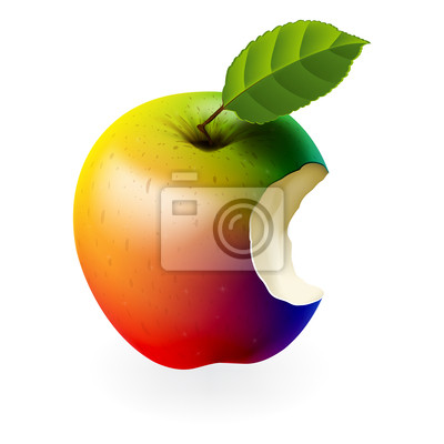 Farbige gebissen Apfel, Vektor-Illustration eps10.