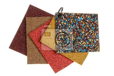 Fußbodenbelag Gummi ~ Farbige gummi bodenbelag proben isoliert auf weiß fototapete