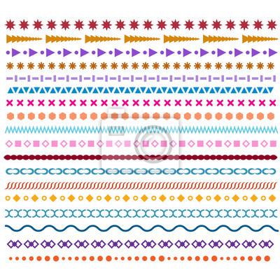 Fototapete Farbige Linienlinien. Musterbürsten Oder Rahmenentwurfselemente.  Gekritzel Und Zickzack Grenzen, Trendy Hipster Horizontalen