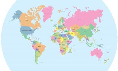 Fototapete Farbige politische Karte der Welt Vektor
