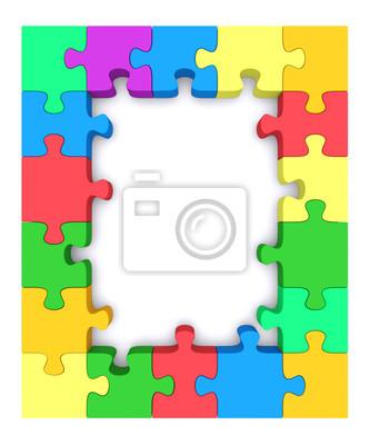 Farbige puzzle-rahmen. fototapete • fototapeten Rätsel, Links, Binde ...