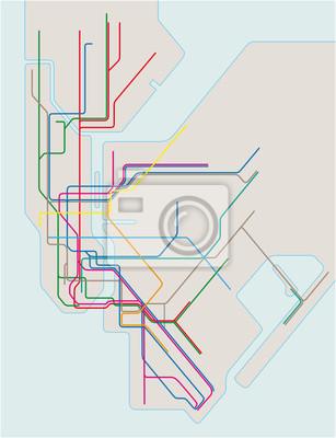 U Bahn Karte New York.Fototapete Farbige U Bahn Vektor Karte Von New York City
