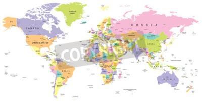 Fototapete Farbige Weltkarte - Grenzen, Länder und Städte - Illustration