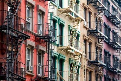 Fototapete Farbige Wohnung Gebäude in New York City