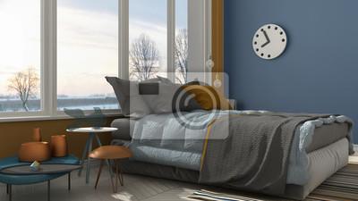 Fototapete: Farbiges modernes blaues und gelbes schlafzimmer mit großem  panoramischem