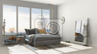 Fototapete: Farbiges modernes weißes schlafzimmer mit großem  panoramafenster,