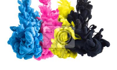 Fototapete Farbspritzer Tinte in Cyan Magenta Gelb Schwarz als Symbol für subtraktive CMYK Farbmischung