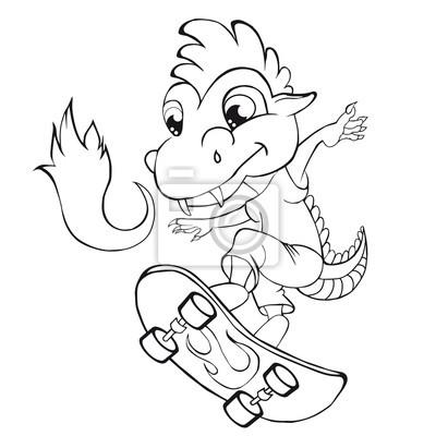 Färbung buch drachen skater. cartoon-stil. clip art für kinder ...