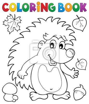 Färbung buch hedgehog thema 1 fototapete • fototapeten stachelig ...