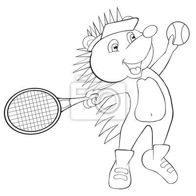 Färbung buch igel spielt tennis. cartoon-stil. clip art für kinder ...