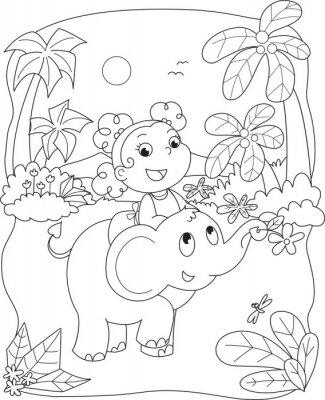 Fototapete Färbung Illustration eines Mädchens Reiten ein Elefant