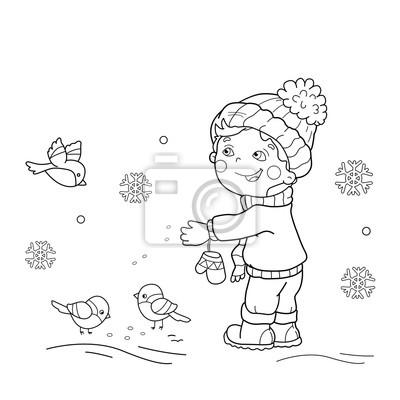 Färbung seite umrisse von cartoon-jungen fütterung vögel. winter ...