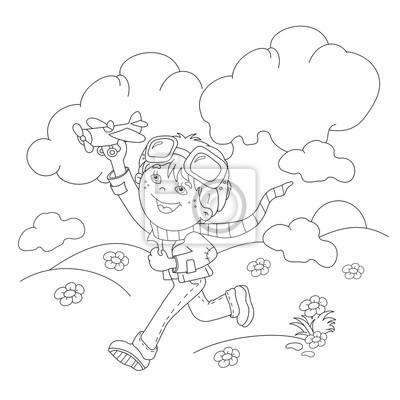 Färbung seiten umriss der cartoon junge mit spielzeug flugzeug ...