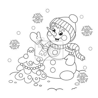 Färbung seiten umriss der schneemann mit weihnachtsbaum fototapete ...