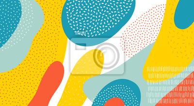Fototapete Farbvektormusterhintergrund der abstrakten Kunst von bunten ovalen oder Kreisformen mit Memphis-Punkt- und Linienentwurf
