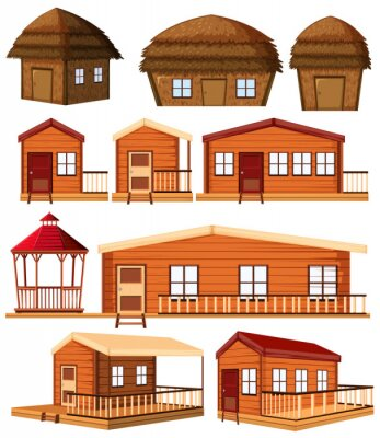Farm building construction design in cartoon style on white background