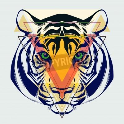 Fototapete Fashion illustration of tiger head