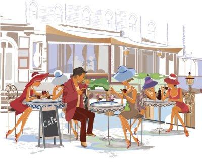 Fototapete Fashion Menschen in der Straße Café in der Stadt.