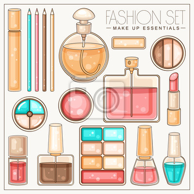 Fashion Set von Frauen machen Werkzeuge und Kosmetika