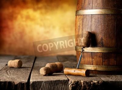 Fototapete Fass mit Wein und Korkenzieher auf einem Holztisch