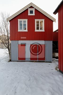 Fassade Des Rot Grauen Hauschen Rorbu In A I Lofoten Dorf