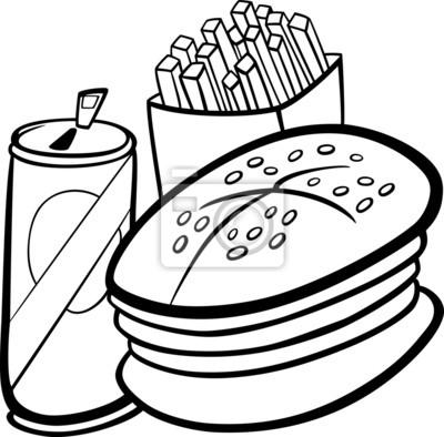 Fast-food-karikatur für malbuch fototapete • fototapeten frites ...