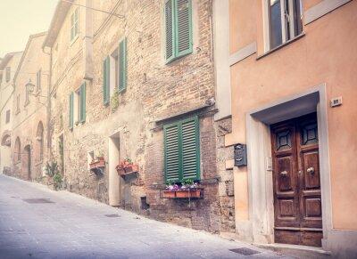 Fototapete Faszinierende Straße des alten Montepulciano