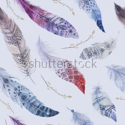 Fototapete Federn Muster. Aquarell eleganten Hintergrund. Aquarellfarbe organischer Designdruck. Nahtlose wiederholende Farbe boho Beschaffenheit mit Hand gezeichneter schicker Tapete. Vogel Abbildung.