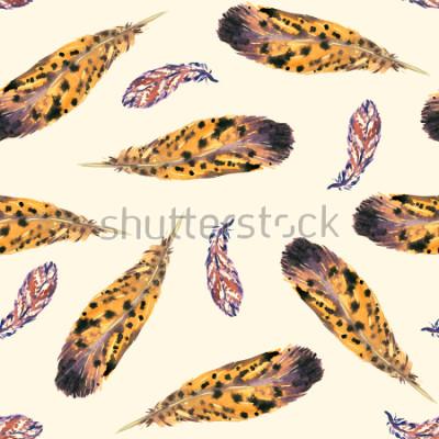 Fototapete Federn, weicher gelber Hintergrund, nahtloses Musterdesign, handgemalte Aquarellillustration
